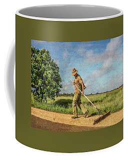 Coffee Mug featuring the photograph Drying Rice by Lou Novick