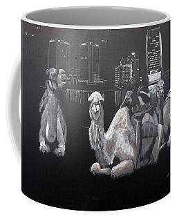 Coffee Mug featuring the painting Dubai Camels by Richard Le Page