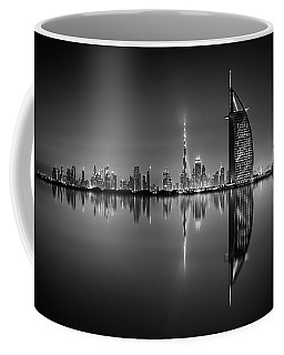Dubai Skyline Reflection At Amazing Night, Dubai, United Arab Emirates Coffee Mug