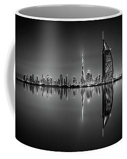 Dubai Skyline Reflection At Amazing Night, Dubai, United Arab Emirates Coffee Mug