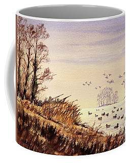 Coffee Mug featuring the painting Duck Hunting Times by Bill Holkham