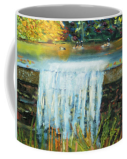 Coffee Mug featuring the painting Ducks And Waterfall by Michael Daniels