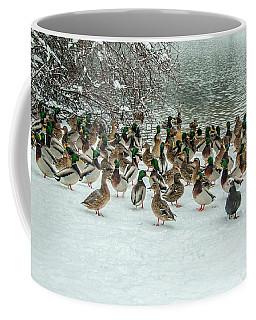 Ducks Pond In Winter Coffee Mug