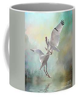 Duelling White Ibises Coffee Mug