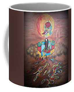 Coffee Mug featuring the painting Duke At Sunset by Marie Schwarzer