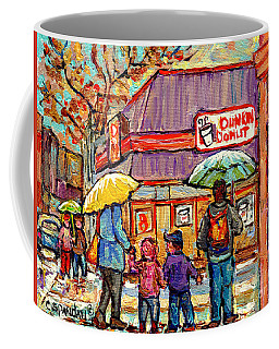 Dunkin Donut Wellington Street Verdun Rainy Day Family Stroll Montreal Painting C Spandau City Scene Coffee Mug