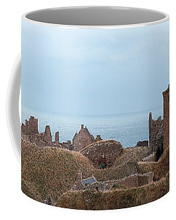 Coffee Mug featuring the photograph Dunnottar Castle Moonrise Panorama by Grant Glendinning