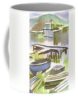 Coffee Mug featuring the painting Dusk At The Boat Dock by Kip DeVore