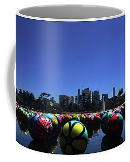 Coffee Mug featuring the photograph Dusk Finds The Spheres Of Macarthur Park by Lorraine Devon Wilke
