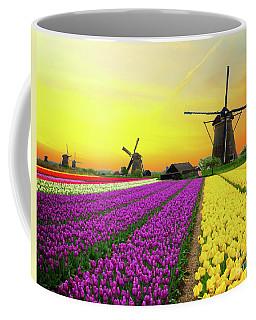 Dutch Windmills And Sunset Coffee Mug by Anastasy Yarmolovich