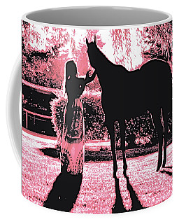 Dylly And Lizzy Pink Coffee Mug by Valerie Rosen