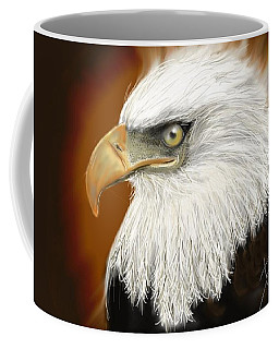 Coffee Mug featuring the digital art Eagle American by Darren Cannell