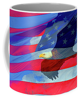 Eagle And Us Flag Coffee Mug