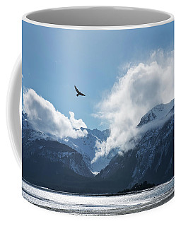 Eagle Flying Over The Chilkat Inlet Coffee Mug
