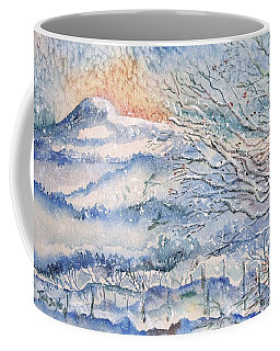 Coffee Mug featuring the painting Eagle Hill, Snow Falling Softly . by Trudi Doyle