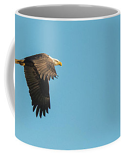 Coffee Mug featuring the photograph Eagle In Flight Panoramic by Jeff at JSJ Photography