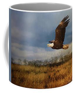 Eagle Over The Field Coffee Mug