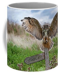Eagle Owl On Signpost Coffee Mug