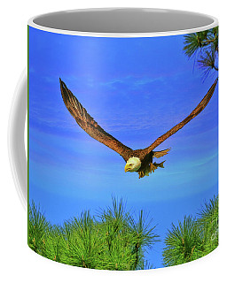 Coffee Mug featuring the photograph Eagle Series Through The Trees by Deborah Benoit