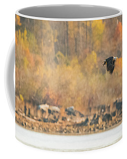 Coffee Mug featuring the photograph Eagle With Fish And Foliage by Jeff at JSJ Photography