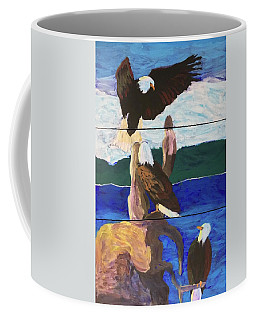 Coffee Mug featuring the painting Eagles by Donald J Ryker III