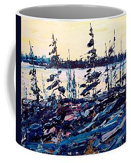 Early Ice And Blue Pines Coffee Mug
