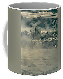 Coffee Mug featuring the photograph Early Morning Frost On The River by Don Schwartz