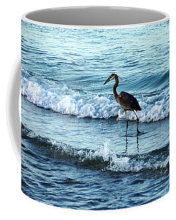 Early Morning Heron Beach Walk Coffee Mug