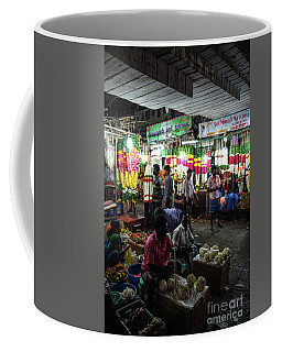 Coffee Mug featuring the photograph Early Morning Koyambedu Flower Market India by Mike Reid