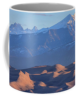 Early Morning Sand Dunes And Snow Covered Peaks Coffee Mug by James BO Insogna