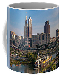 Early Morning Transport On The Cuyahoga River Coffee Mug