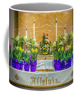 Coffee Mug featuring the photograph Easter Alter And Flowers by Nick Zelinsky
