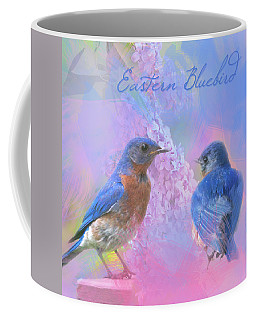 Eastern Bluebirds Watercolor Photo With Lilacs Coffee Mug