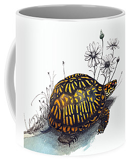 Coffee Mug featuring the drawing Eastern Box Turtle by Katherine Miller
