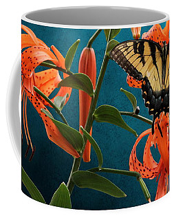 Eastern Tiger Swallowtail Butterfly On Orange Tiger Lily Coffee Mug