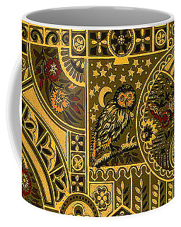 Eastlake Gilt Victorian Tapestry With Owl Coffee Mug