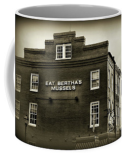 Eat Berthas Mussels In Black And White Coffee Mug by Paul Ward
