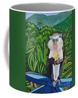 Coffee Mug featuring the painting Eating A Banana by Laura Forde