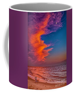 Coffee Mug featuring the photograph Evening Fishing On The Beach by Nick Zelinsky