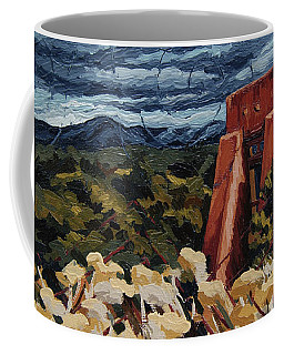 Coffee Mug featuring the painting Echoes Of Tularosa, Museum Hill, Santa Fe, Nm by Erin Fickert-Rowland