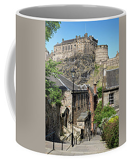 Coffee Mug featuring the photograph Edinburgh Castle From The Vennel by Jeremy Lavender Photography
