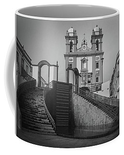 Coffee Mug featuring the photograph Egreja Da Mesericordia And The Gateway To Angra Do Heroismo In Black And White by Kelly Hazel