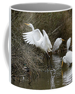 Coffee Mug featuring the photograph Egret Exit by George Randy Bass