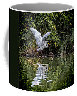 Coffee Mug featuring the photograph Egret Hunting For Lunch by Chris Lord