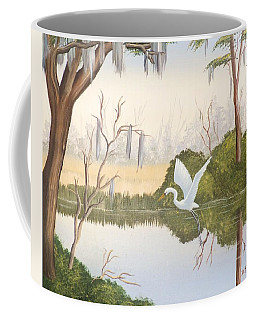 Egret In Flight 1 Coffee Mug