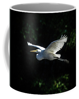 Egret In Flight Art Greenfield Lake Coffee Mug