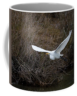 Coffee Mug featuring the photograph Egret In Flight by George Randy Bass