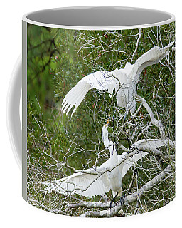 Coffee Mug featuring the photograph Egret Rumble by George Randy Bass