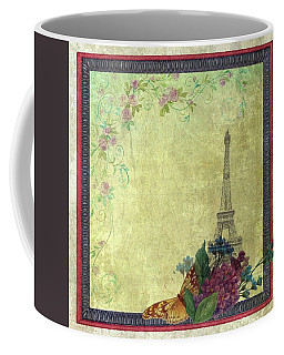 Eiffel Tower Faded Floral With Swirls Coffee Mug