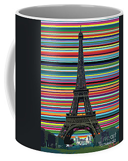 Coffee Mug featuring the painting Eiffel Tower With Lines by Carla Bank